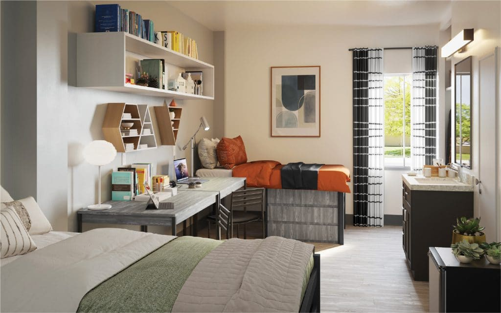 bedroom at student apartment complex in Lawrence Kansas