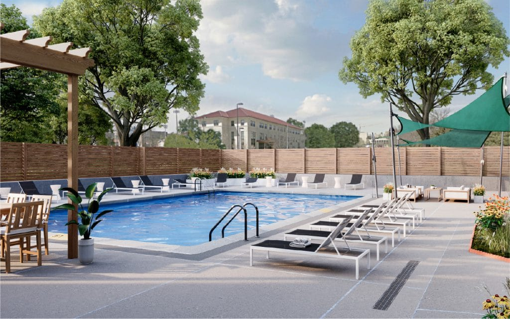 pool at student apartment complex in Lawrence Kansas