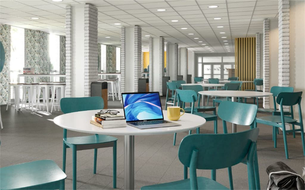 Dining hall in student apartment complex in Lawrence Kansas